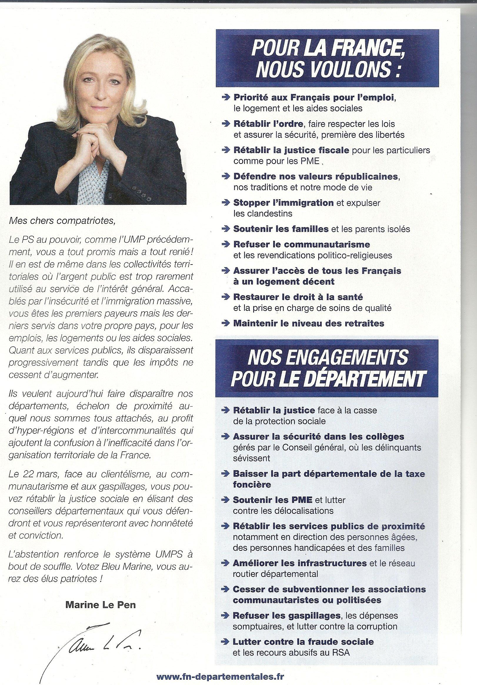 Départementales 2015: Front National, un programme à rire ...